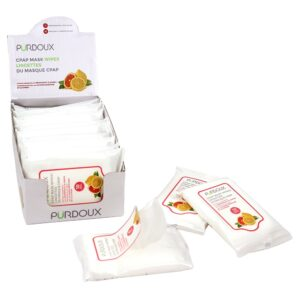 PÜRDOUX™ CPAP MASK WIPES IN TRAVEL BOXES, GRAPEFRUIT & LEMON (SCENTED)